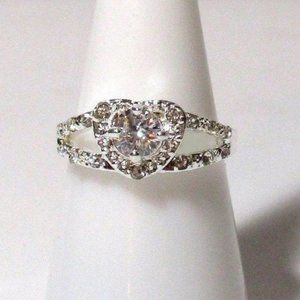 #266 Ring Size 9 Simulated Diamond Love Heart